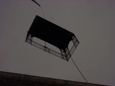 Image of craning in another piece of steel balcony.