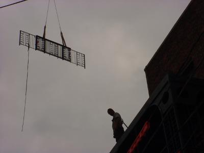 Image of craning in the top railing to the third tier.