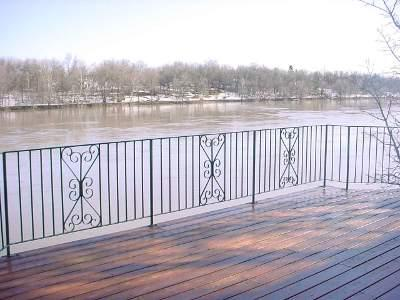 Image of an iron fence along a river.
